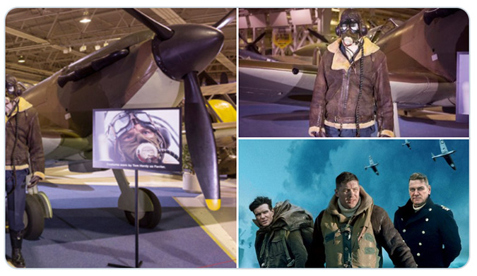 Montage showing Tom Hardy's costume from the film Dunkirk on display in London's Hangar 4