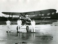 No.23 Squadron's aerobatic team for the 1931 Hendon display. Left to right: Bader, Flight Lieutenant Harry Day (team leader) and Flying Officer Geoffrey Stephenson (reserve). Bader and Day met again in Stalag Luft III and Stephenson welcomed Bader to Colditz.