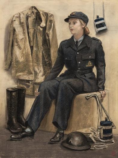 Elsie Gledstanes, Driver on Duty at an Ambulance Station, 1941.