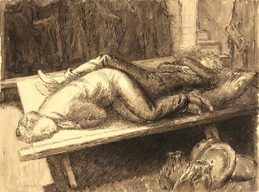 Enid Abrahams, Fire Women Resting: London Blitz, c.1940-41.