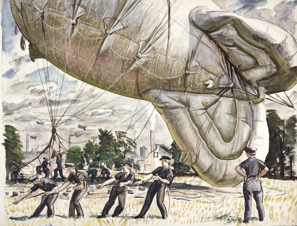 Laura Knight Study: A Barrage Balloon Site, Coventry, 1942.