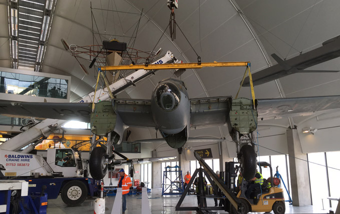 13 September - the Mosquito is lifted off her support frame in Milestones