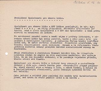 Prohlášení Spolecnosti pro obnovu Lidic po emigraci Josefa Horáka z komunistického Ceskoslovenska. Státní oblastí archiv Kladno, fond Spolecnost pro obnovu Lidic a Ležáku (NAD 810), in. c. 11, karton c. 3, Zápis ze schuze správního výboru z 25. 5. 1948.