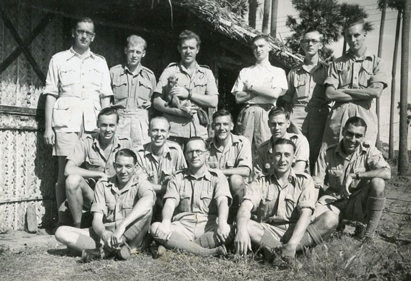 Members of the 3rd Ceylon Rover Crew with mascot 'Chicko', January 1945. © RAF Museum X001-2326