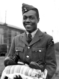 Caribbean airman after being kitted out, RAF Cardington, 27 January 1944 (Courtesy of IWM)