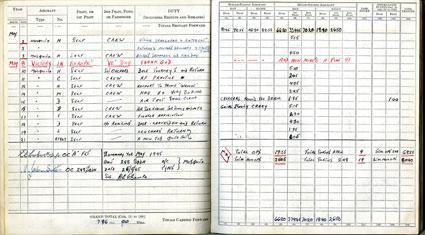 Entry for 8 May 1945 in Flight Lieutenant David Errol Chance's flying log book