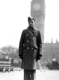 Grenadian aircrew cadet, J.E.N. Scoon, Westminster, London, 26 March 1942 (Courtesy of the Imperial War Museum)