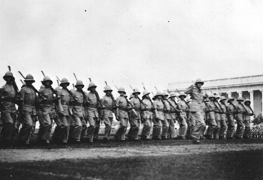 March past by RAF on King's birthday, Singapore, 23 June 1936