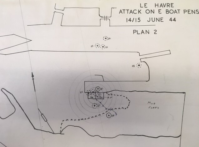 Bomb plot diagram showing the fall of 617 Squadron' s Tallboy bombs during the RAF's attack on the Le Havre E-Boat pens on 14/15 June 1944, RAF Museum, AC76/22/22/2
