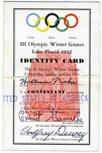 Olympics identity card for William Fiske, 1932