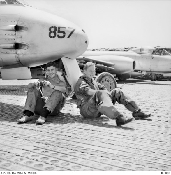 John Price (on the right) relaxing with LAC Bob McLean at Kimpo, 1953 (AWM JK0830)