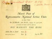 Invitation to 1939 March Past