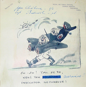 """Illustration from the chronicle of the Czechoslovak flight of 68 Night Fighter Squadron. """"Yes, yes. That's how it is when the indicator doesn't work"""" describing the accident of the crew of P/O František CHÁBERA and Sgt Karel BEDNARÍK. Archive of Martin Vrána"""