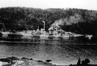German battleship Tirpitz moored in Norway