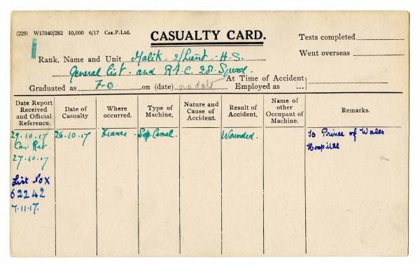 Casualty Card for 2Lt Hardit Singh Malik, 1917