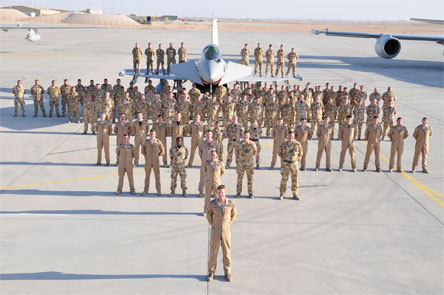 No. XI Squadron of the RAF with a EuroFighter Typhoon as part of Exercise MAGIC CARPET