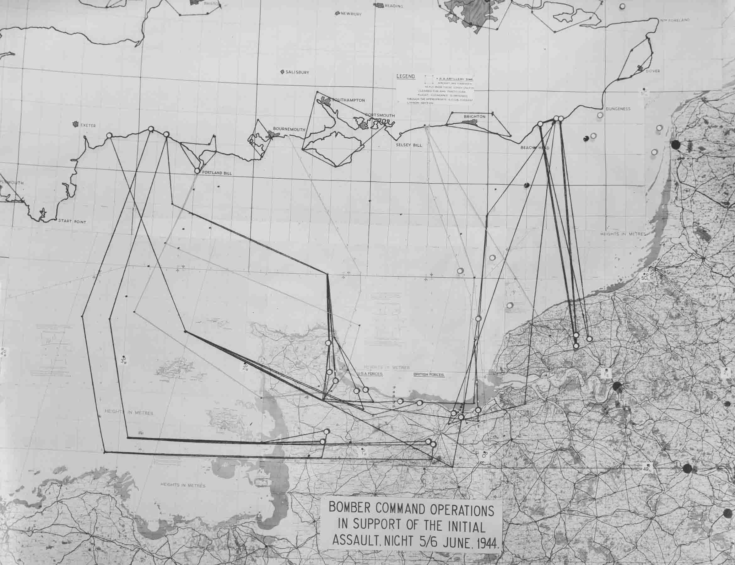 Map outlying the Bomber Command operations on the night of 5-6 June 1944