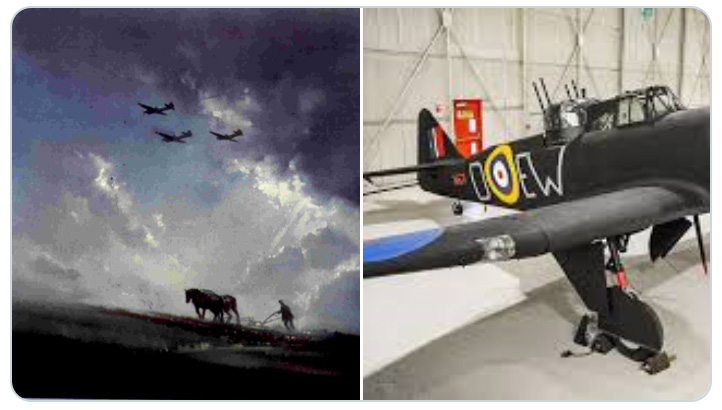 Painting of Boulton Paul Defiants en-route to Dunkirk and a photograph of one of display at the Museum