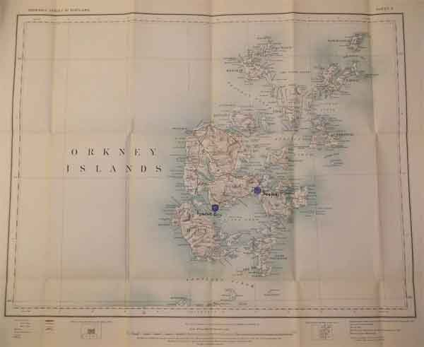 Ordinance Survey map of the Orkney Islands showing Houton Bay seaplane and balloon station and Scapa Flow fleet aircraft repair base and stores depot, February 1918 (X002-7889)