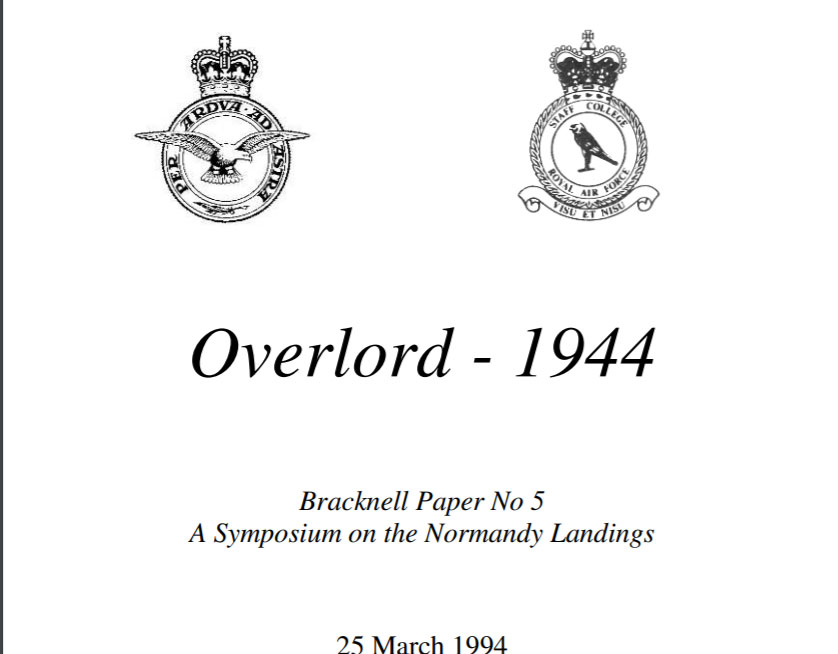 The front cover of the Bracknell Report about Operation Overlord