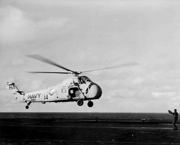 Sikorsky HSS-1 Seabat, hovering over the deck of USS Forrestal, September 1957, the Sea King would replace this aircraft in anti-submarine operations (P009582)