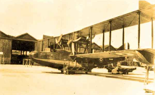 Felixstowe F.3 (N4415) of 234 Squadron, on beaching trolley, Tresco, 1918 (RAFM photograph P010174)