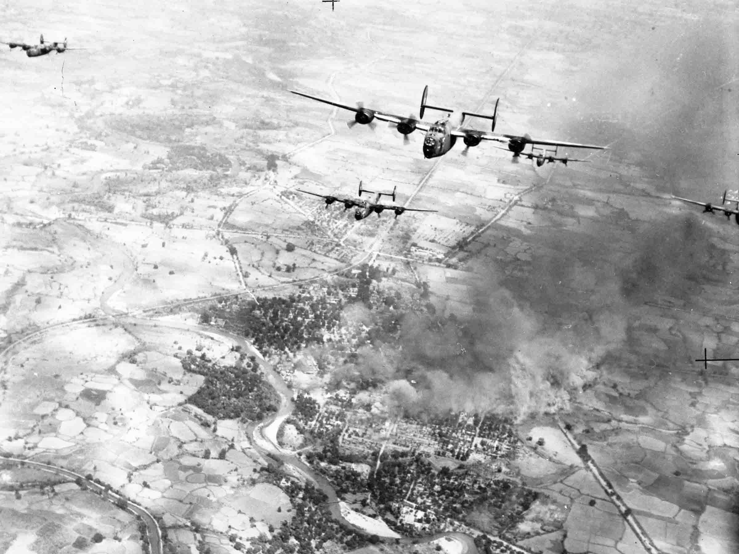 Consolidated Liberators B.VI of 355 Squadron, above front view of formation on operations over Burma, 1945 (RAFM P014738)
