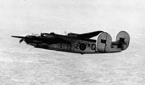 Consolidated Liberator GR.V (2-Q) of 224 Squadron, above rear port side view in flight (P016877)