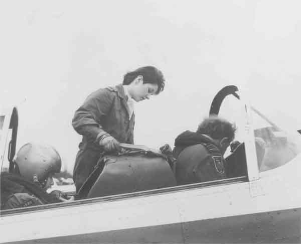A pilot and an air cadet of 1330 (Warrington) Squadron ATC preparing for an air experience flight in a Chipmunk (P032541)