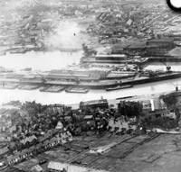 An aerial reconnaissance photograph of German invasion barges in Boulogne harbour