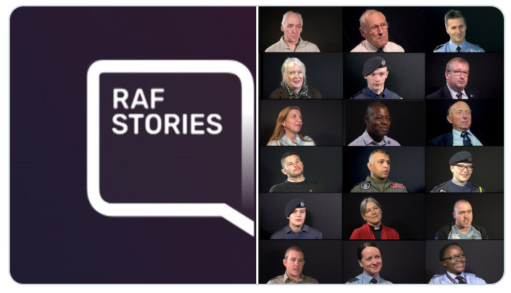 The RAF Stories logo plus montage of people who have recorded their stories