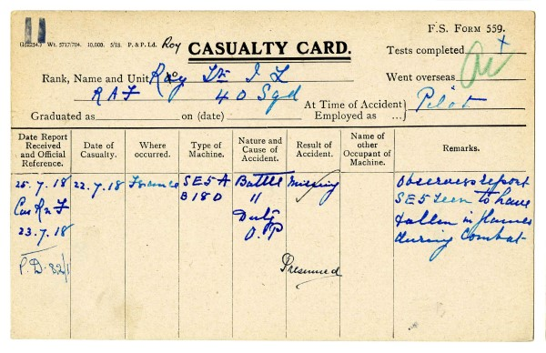 Casualty card for Lt Roy, 1918