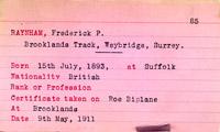 record card of Mr Frederick Phillip Raynham, 1911