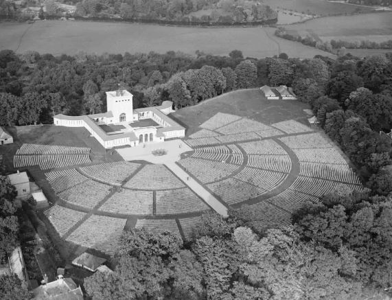 Figure 5: PC98/173/6540/5, RAF Memorial, Runnymede, before opening ceremony in 1953 with chairs positioned around it. Royal Air Force Museum Collection