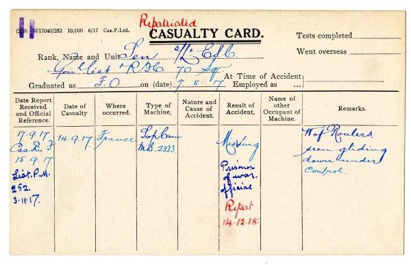 Casualty Card for Lieutenant Errol Suvo Chunder Sen, 1918.
