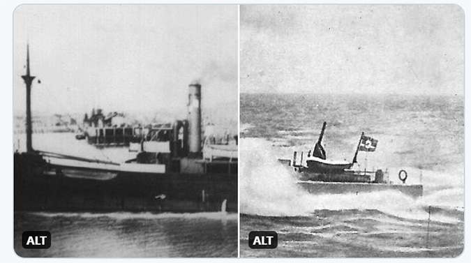 Pictures illustrating the tweet about SS Abukir