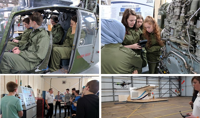 Students from last year's pilot programme attempting a rescue from an earthquake zone and flying drones