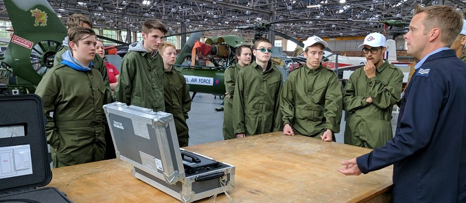 Students from last year's pilot programme being briefed for a challenge at RAF Cosford