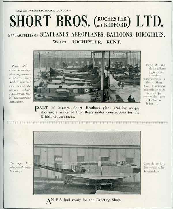 """Advertisement for Short Brothers of Rochester featuring Felixstowe F.5 flying boats from """"The British Aircraft Standard Catalogue, 1920-21"""" (RAFM reference 010061)"""