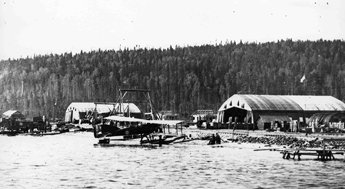 Short 184 seaplane in Russia. Most of the area was wooded area with transportation mainly along the waterways