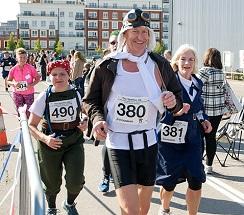 A group of runners in fancy dress