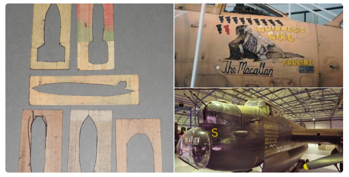 a selection of campaign stencils and pictures showing them on aircraft.