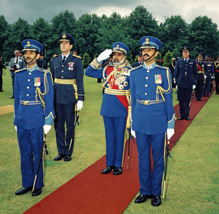 Sultan Qaboos of Oman taking the salute at the RAF College Cranwell in May 1986