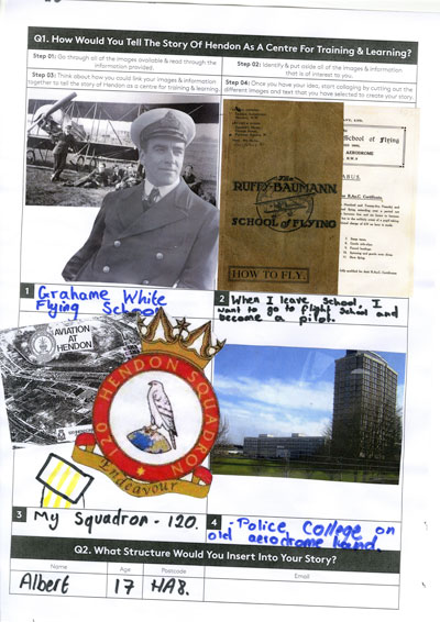 A collage by Albert of 120 Squadron ATC about his ambitions to become a pilot which he is exploring through his ATC Squadron