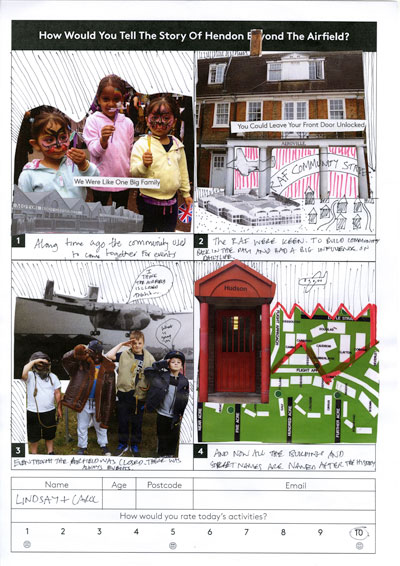 A collage by Carol and Lindsay of the Colindale Community Trust about how the community in Colindale was built and maintained