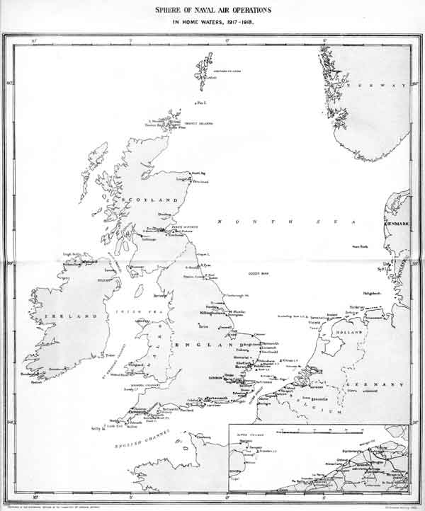 Sphere of naval air operations in Home Waters 1917-1918 from War in the Air Volume IV.  When it became too dangerous for U-Boats to enter the Atlantic through the English Channel they were forced to sail north around the top of Scotland