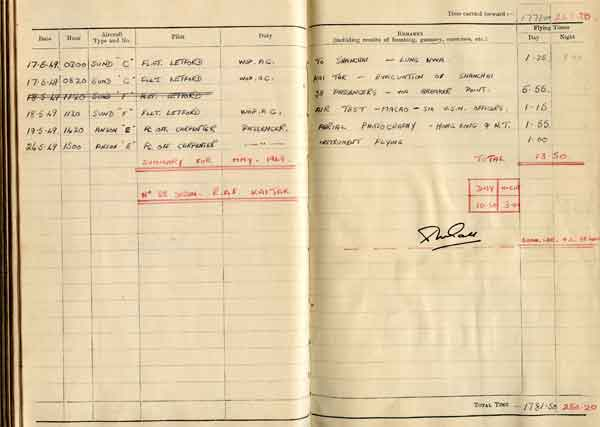 Extract from Sqdn Ldr Donald Gray's log book f 17 May 1949, the evacuation of Shanghai (X007-9193)