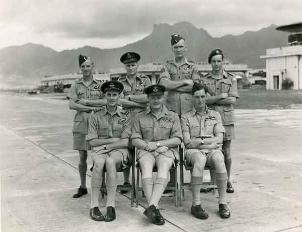 Group portrait of Sqdn Ldr Donald Gray's crew in Hong Kong, 1949 (Sqdn Ldr Gray is believed to be standing in the rear row, second from the left. (X002-9193)
