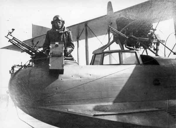 The front gun position of a Curtiss H.12B Large America.  The wireless operator – here seen holding the camera - often occupied this position during patrols.  (RAFM reference X003-2602/6582)