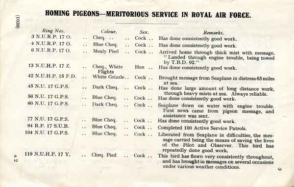 """A typical page from AP 150 """"Homing pigeons: Meritorious service in the Royal Air Force"""" (RAF Museum reference R029225)"""